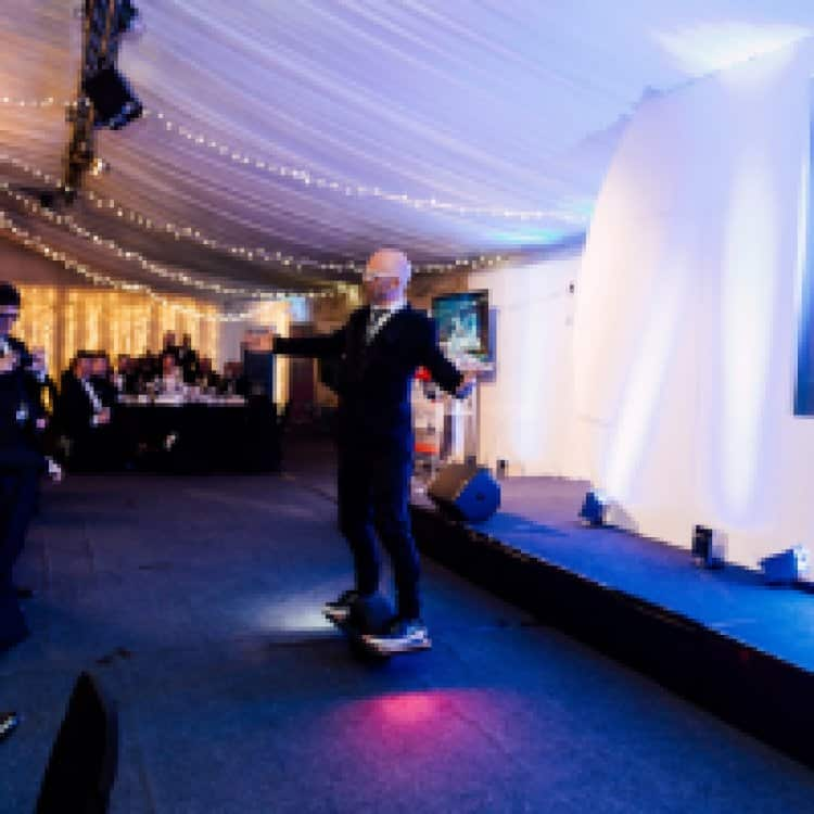 TV's Jason used a hoverboard to make spectacular entrance at Chamber annual dinner